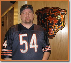 Shawn Steward in the Chicago Bears locker room